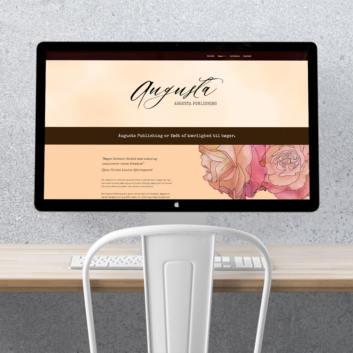 Design af hjemmeside til Augusta Publishing lavet af Little Creature Ink
