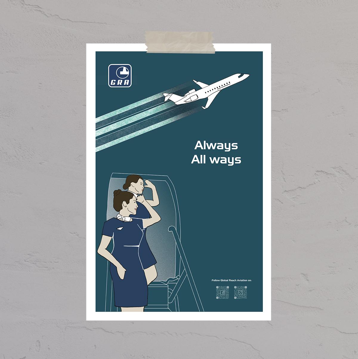 Design af plakater til Global Reach Aviation lavet af Little Creature Ink