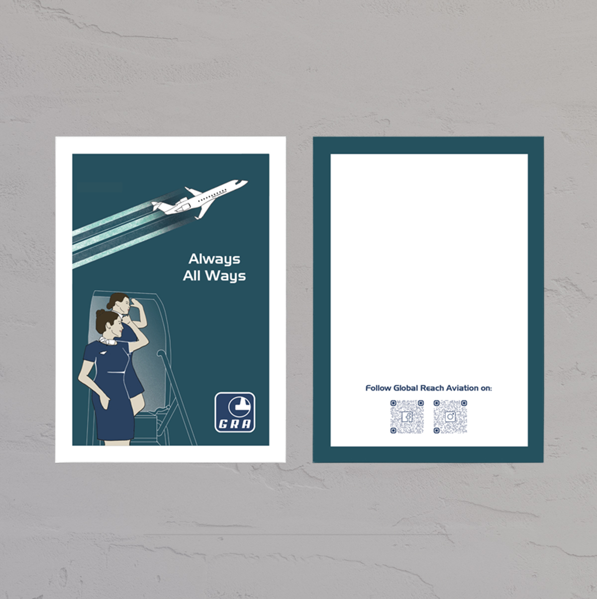 Postkort designet til Global Reach Aviation