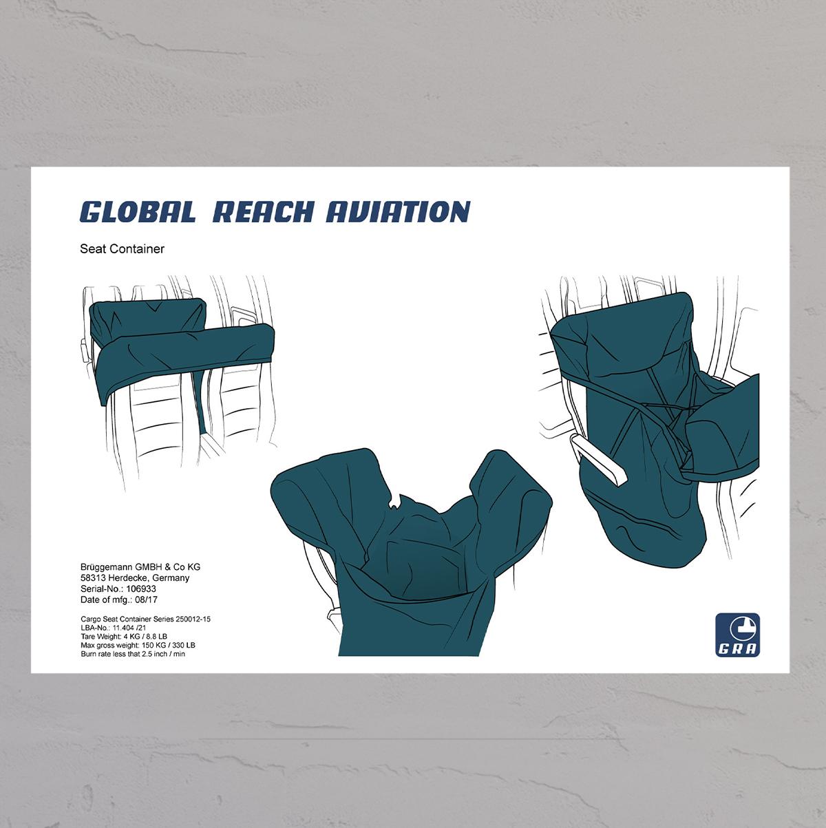 Tekniske tegninger af Seat container til Global Reach Aviation lavet af Little Creature Ink